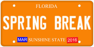 Spring Break Florida License Plate Royalty Free Stock Photo