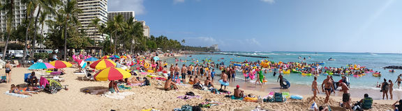 Spring Break Flotilla in Waikiki. April 1 2017 HONOLULU HAWAII A panoramic view of the beach during the 2017 Spring Break Flotilla in Waikiki Beach in Honolulu Royalty Free Stock Photo