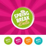Spring break Sale color banner and 50%, 60%, 70% & 80% Off Marks. Vector illustration. Eps10 Vector Royalty Free Stock Photography