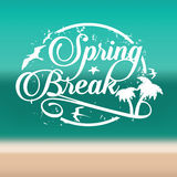 Spring break stamp on beach background stock illustration