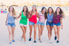 Spring break teens. Group of teens in spring break vacation Royalty Free Stock Photo