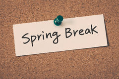 Spring break. Text on the bulletin board royalty free stock photos