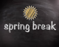 Spring Break Texts on Chalkboard with Sun Design Stock Images