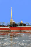 Spring break up on the Neva River in St. Petersburg in the evening. Peter and Paul Fortress in St. Petersburg during spring break on the river Neva Stock Image