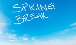 Spring break written in the sky royalty free stock photos