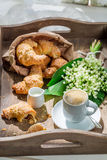 Spring breakfast with croissant and coffee Royalty Free Stock Photography