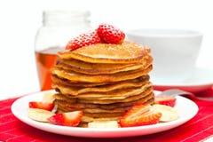 Spring breakfast: golden pancakes pancakes Royalty Free Stock Photos