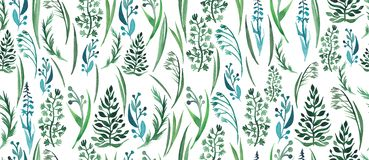 Spring bright beautiful gentle graphic herbal floral pattern of green grass pattern watercolor. Hand illustration Stock Photography