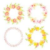 Spring bright flowers round vector design frames Stock Photos