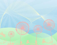Spring. Bright Spring landscape background with Dandelions Royalty Free Stock Image