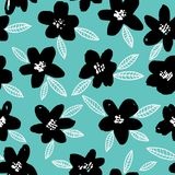 Spring bright seamless floral pattern with black hand drawn flowers on mint green background. Royalty Free Stock Photo