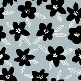 Spring bright seamless floral pattern with black hand drawn flowers on gray background. Stock Photos