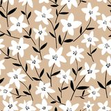 Spring bright seamless floral pattern with white hand drawn flowers and black leaves on beige background. Royalty Free Stock Photos