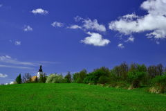 Spring in Bruntal Church Royalty Free Stock Images