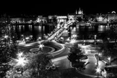 Budapest by night. View from Buda Castle. Hungary. Spring in Budapest. View from the Buda Castle with Danube and Chainbridge royalty free stock photography