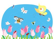Spring bugs. Bugs and butterflies having fun in spring Vector Illustration