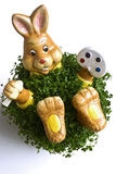 Spring bunny. In the grass, pot plant decoration stock photos