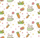 Spring bunny and carrot kawaii pattern royalty free illustration