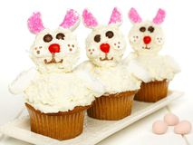 Spring bunny cupcakes on plate Stock Photo