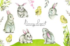 Spring Bunny Happy Easter clipart Farm animals collection watercolor illustration