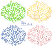 Spring Bush vector collection. Colored silhouette. Stylish emblem set in pastel colors royalty free illustration