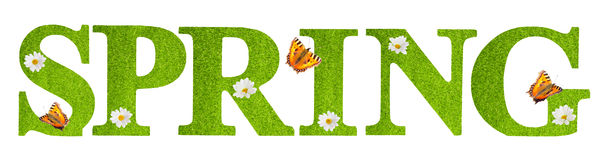 Spring Butterflies. Spring letters covered in grass texture with butterflies on a white background Royalty Free Stock Image