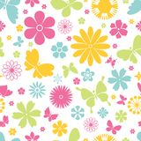 Spring butterflies and flowers seamless pattern. Colorful fresh vector design of flying butterflies with open wings and spring flowers in a seamless background Stock Photo