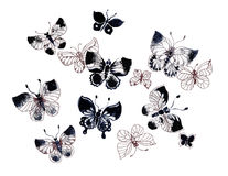 Spring butterflies pattern set. Background Stock Photography
