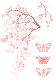 Spring butterflies tree Royalty Free Stock Photos