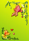 Spring Butterfly. Vector background illustration of several yellow spring flower and butterflies stock illustration