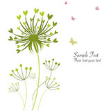 Spring butterfly floral dandelions greeting card Royalty Free Stock Images