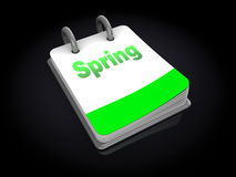 Spring calendar. 3d illustration of calendar with spring page opened, over black background Stock Image