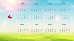 Spring calendar 2014. Illustration vector illustration