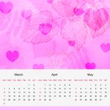 Spring calendar page of new 2013 year vector Royalty Free Stock Photography