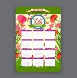 Spring Calendar 2016 year design Royalty Free Stock Image