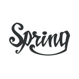 Spring. Calligraphic handwritten word. Typographic Royalty Free Stock Photo