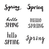 Spring calligraphy lettering. Spring quotes handwritten. Stock Images