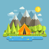 Spring Camping Landscape Royalty Free Stock Photos