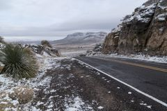 Spring canyon road in winter in New Mexico. A brief winter snow on the road to Spring Canyon State park in southwest New Mexico royalty free stock photos