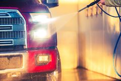 Spring Car Washing. Cleaning Full Size Pickup Truck in the Car Wash Station Stock Images