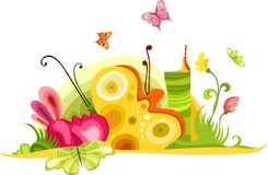 Spring card. Vector Illustration of a colorful spring card Stock Image