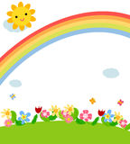 Spring card. Illustration of colorful flower spring card Stock Image