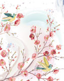 Spring card. In watercolor technique with singing birds on branches of a blossoming tree. Vector illustration Royalty Free Stock Photos