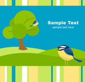 Spring card. Spring background with tree, meadow and tomtits Royalty Free Stock Photo