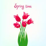 Spring card background with red tulips Stock Image