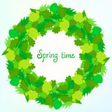 Spring card background with wreath of leaves Stock Photography