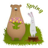 Spring card with bear and rabbit Royalty Free Stock Photos