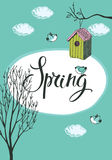 Spring card with birds and bird houses Stock Photos