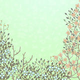 Spring card with blooming bushes Royalty Free Stock Image