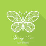 Spring card with butterfly on a green background Stock Photo